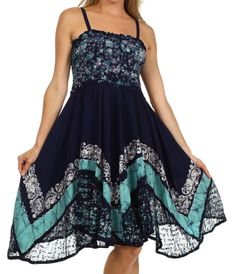 Sakkas 55341 Aphrodite Embroidered Batik Dress - Navy / Turquoise - One Size