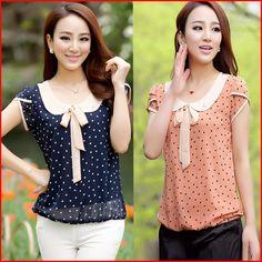 S-xxxxl mujeres más tamaño ropa manga corta Polka Dot Blusas clásico de la gasa Blusas femeninas