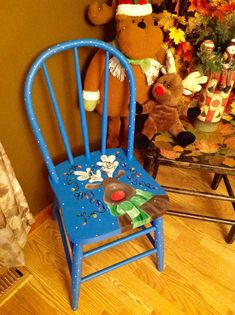 Hand painted reindeer holiday chair. Creating Painted Chairs is my favorite thing to do, especially themed ones! Dixcie's Painted World