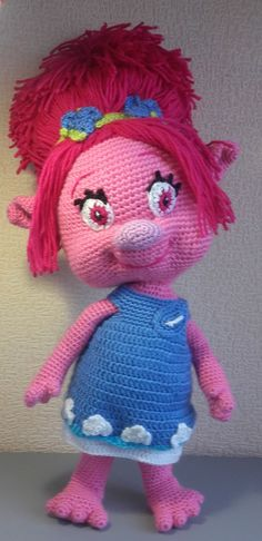 MAKE TO ODER  The finished size of the toy is approx. 16 (40 cm) without ponytail.Poppy size is approximately 20'' (50 cm) long  Made from 100% acrylic, stuffing, wire. This doll is made to order. It will take 3-5 days to crochet the Princess.  After payment receive I start to create your order. When your order will be ready I will ship it immediately. I ship from Latvia with A class registered air mail. Usually delivery takes about 5-20 business days: EU - about 5-10 business days US…