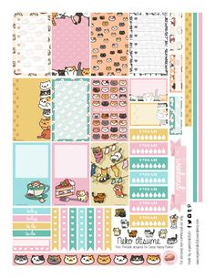 Free Printable Neko Atsume Planner Stickers from Organized Potato