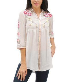 Love this Caite Ivory Embroidered Kenzie Top by Caite on #zulily! #zulilyfinds