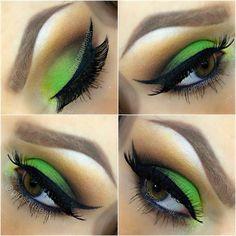 Neon green eyeshadow!!