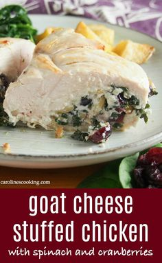 Transform a plain chicken breast into this deliciously flavorful and comforting goat cheese stuffed chicken. Elegant enough for a special occasion, but easy enough for any night. Tasty flavors that work so well together, it's a crowd-pleasing meal. Goat Cheese Stuffed Chicken, Baked Goat Cheese, Goat Cheese Recipes, Stuffed Chicken Breasts, Yummy Chicken Recipes, Healthy Recipes, Yummy Recipes, Amazing Recipes, Gourmet