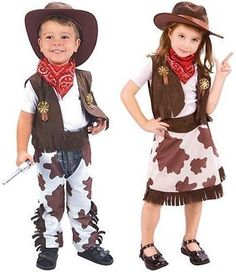 NEW TODDLER COWBOY COWGIRL FANCY DRESS COSTUME OUTFIT.  AGES 3-4. COWBOY GUNS