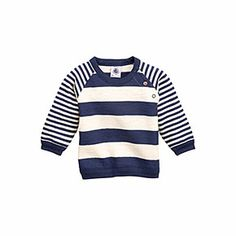 Petit Bateau US Official Online Store, Baby boy sweatshirt in jersey stockinette with contrasting stripes, logo coquille, Baby Boy : Daywear...
