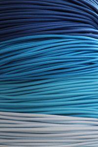 Une vague de câble textile tissés bleus pour évoquer la mer. Abstract, Artwork, Outdoor, Textile Fabrics, Electrical Cable, Duck Egg Blue, Summary, Outdoors, Work Of Art