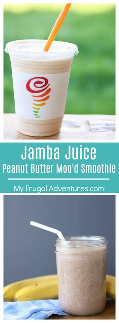 Copycat Jamba Juice Peanut Butter Moo'd smoothie. So creamy and delicious and perfect for after school or sports snacks!