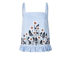 Cotton Embroidery Strappy Top 17SWFEM417-Chambray.jpg