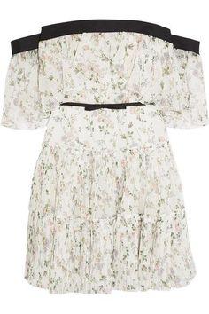 Giambattista Valli - Off-the-shoulder Ruffled Floral-print Silk-chiffon Mini Dress - Ivory - IT4