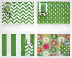Picnic placemats with a simple pocket for flatware. Use outdoor fabric and outdoor thread for best weathering results.