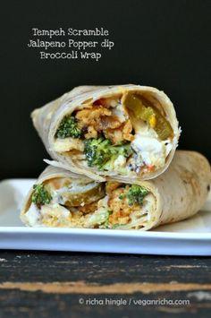 Tempeh Scramble Jalapeno Popper dip Wraps #vegan #veganricha | VeganRicha.com