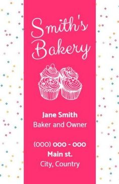Bakery advert poster marketing in pink and white with colourful ports at either side on the flyer Smiths Bakery, Create Flyers, Bakery Business Cards, Cupcake Images, Flyer Template, Advertising, Dots, Girly, Templates
