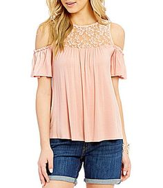 Moa Moa Lace Yolk Cold Shoulder Top #Dillards
