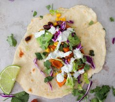An absolutely delicious vegetarian soft taco that even meat-eaters will LOVE! Sweet potatoes mixed with protein packed black beans make these extra hearty!