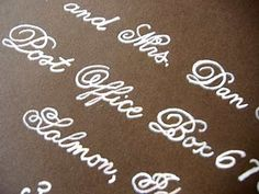 Pretty writing CHEAT: Print address with grey colored fancy font. THEN, go over with a white gel pen. LOOKS like it's handwritten, but it's a cheat. Wedding Songs, Wedding Book, Diy Wedding, Wedding Ideas, Wedding Stuff, Wedding Inspiration, Wedding Cakes, Wedding Beauty, Design Inspiration