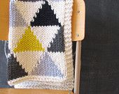 Knitted Triangle Pattern Baby Blanket in Grey/Black/Neon Yellow for Bassinet, Stroller, or Car Seat from YarningMade on Etsy. Knitting Projects, Crochet Projects, Knitting Patterns, Crochet Patterns, Knitted Afghans, Knitted Baby Blankets, Blanket Yarn, Lap Blanket, Knit Or Crochet