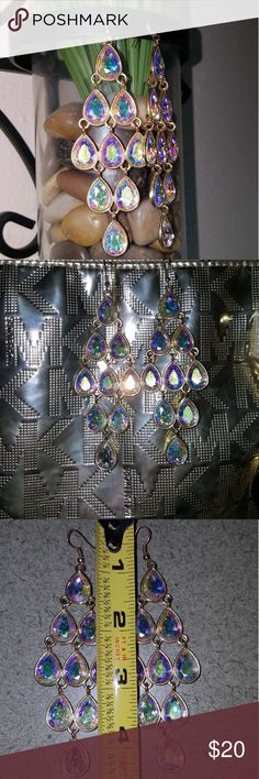 Chandelier Earrings From Express Gorgeous irridescent stones Very flashy & classy earrings They are rather heavy for an earring  Measurements shown   LOWBALL offers will be declined & u will be blocked! ☆Comes in box ☆New condition  ☆Prices are firm  ☆High rated seller ☆NO negative reviews  ☆Happy Poshing Macy's Jewelry Earrings