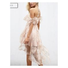 Choies Pink Cold Shoulder Mesh Panel Cami Hi-Lo Dress (52 BAM) ❤ liked on Polyvore featuring dresses, white cami, white cold shoulder dress, white camisole, white high low dress and pink high low dress