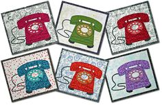 telephone applique mug rug