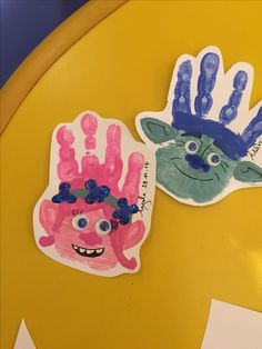 Super pleased with these! - Poppy & Branch Trolls handprint c Daycare Crafts, Baby Crafts, Toddler Crafts, Preschool Crafts, Crafts For Kids, Daycare Rooms, Toddler Art, Trolls Birthday Party, Troll Party