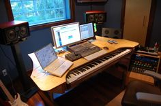 My custom built production desk with a sliding 88 key controller Home Studio Setup, Music Studio Room, Studio Gear, Music Production Pc, Music Production Equipment, Music Desk, Multipurpose Furniture, Recording Studio Design, Recorder Music