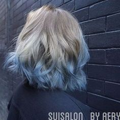 Blue Beauty - 30 Short Ombre Hair Options for Your Cropped Locks in 2019 - The Trending Hairstyle - Page 3 Blue Tips Hair, Blonde And Blue Hair, Short Blonde, Blonde Ombre, Short Ombre, Blonde Balayage, Best Ombre Hair, Ombre Hair Color, Pastel Ombre Hair