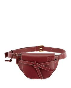 Gate Mini Calf Bum Belt Bag by Loewe at Bergdorf Goodman. Leather Belt Bag, Red Leather, Loewe Bag, Bum Bag, Mini Backpack, Pebbled Leather, Luxury Branding, Bucket Bag, Fendi