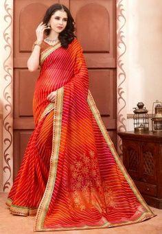Leheriya Printed Kota Silk Saree in Red and Rust
