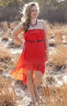 Deb Shops plus size strapless ruffle belted high low hem day dress
