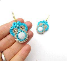 Bleu boucle d'oreille Soutache Turquoise Bleu par StudioGianna