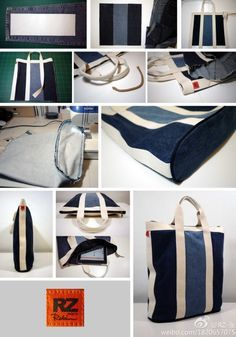 Four part playlist and full sewing tutorial for the Sahara handbag recycled denim project. More Denim Bags to Sew: Nautical-Style Denim Tote – Free Visual Guide Don't throw out your old jeans! It's time to deconstruct with these Ideas for What to Make w Diy Jeans, Recycle Jeans, Sacs Tote Bags, Lv Bags, Bag Sewing, Free Sewing, Denim Handbags, Fashion Handbags, Fashion Bags