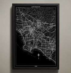 This detailed map captures an important year during Los Angeles' rapid growth as it became the heart of US cinematography. Add a piece of history to your home with this archival grade Los Angeles map print poster available in both black and white. #los-angeles-map-print