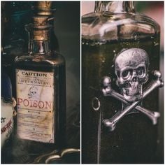 DYI Harry Potter Potions for Halloween: Poison - decor/prop. Fete Halloween, Holidays Halloween, Halloween Crafts, Halloween Decorations, Halloween Potion Bottles, Halloween Apothecary, Apothecary Jars, Harry Potter Potions, Harry Potter Halloween