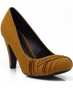 Qupid Quintin-02 Mid Heel Rouched Pump MUSTARD. Great colour. A little chunky.