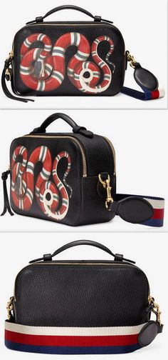 Snake Print Leather Top Handle Bag, Black