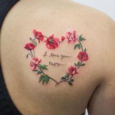 Trendy Tattoos, Small Tattoos, Tattoos For Women, Tattoos For Daughters, Sister Tattoos, Daughter Tattoos, Tattoo Girls, Mom Heart Tattoo, Heart Flower Tattoo