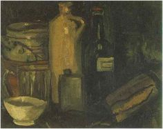 still life paintings with bottles | Vincent van Gogh's Still Life with Pots, Jar and Bottles Painting