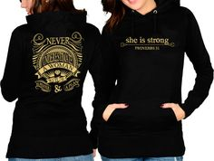 Never Underestimate a Woman With a Prayer & a Plan ... She is Strong Hoodie available here: http://dresseduptee.com/proverb31