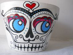 Day of the Dead sugar skull Flower Pot Planter by GingerPots, $25.00