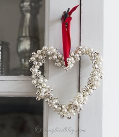 homemade Christmas ornament jingle bells pearls heart by Songbird #easyholidayideas
