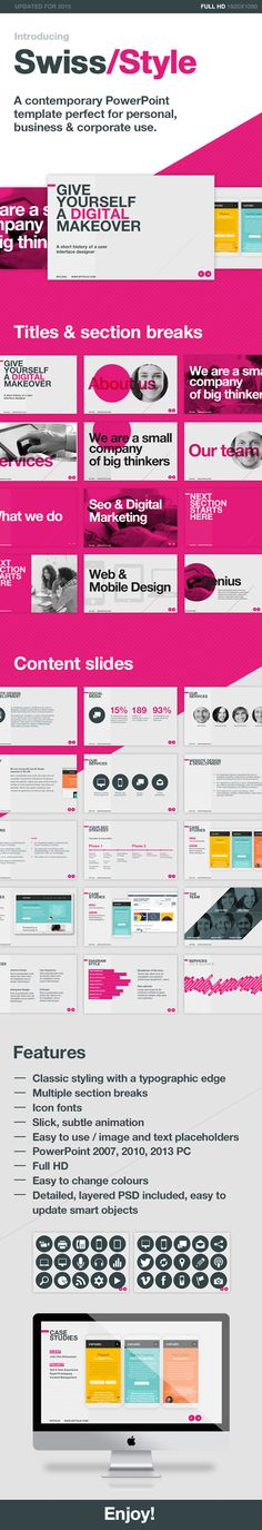 A contemporary PowerPoint template perfect for personal, business & corporate use.  The Swiss Style template has been built with simplicity in mind and uses a classic style that will work well in any presentation. Very easy to edit content & change colours in both the PowerPoint & photoshop files.