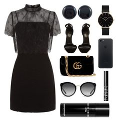 """""""Midnight Patent Leather Fabric Studs"""" by lionaleedesigns on Polyvore featuring Sandro, Yves Saint Laurent, Gucci, CLUSE, Dolce&Gabbana, NARS Cosmetics and Bobbi Brown Cosmetics"""
