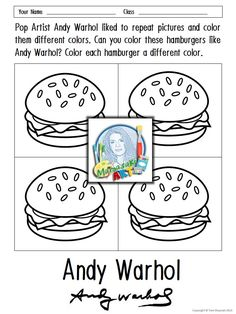 Andy Warhol Coloring Sheets Pop Art Pinterest Warhol