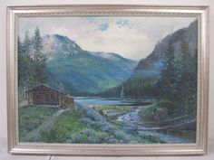 RIchard Gabriel Chase Listed CA Art Original Oil Painting Purple Mountains Cabin #Impressionism