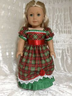 RESERVED Plaid Christmas dress for Caroline by DollSizeDesigns, $99.00