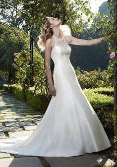 Junoesque A line Satin Floor Length Natural Waist Court Train Bridal Dresses - Lunadress.co.uk