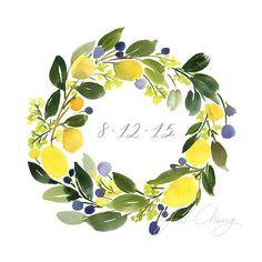 Lemon Wreath Monogrammed Watercolor Art Print by YaoChengDesign Wreath Watercolor, Watercolor Flowers, Watercolor Paintings, Lemon Watercolor, Watercolours, Safe The Date Karten, Lemon Drawing, Lemon Wreath, Wreath Drawing