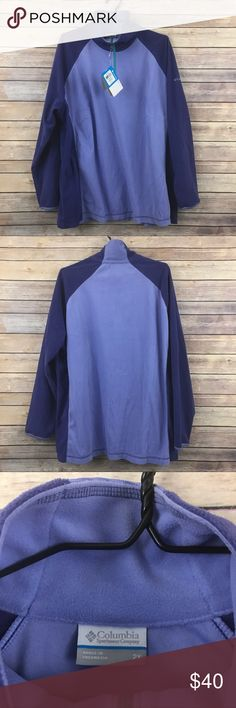 """Columbia NWT Glacial Fleece III 1/2 Zip Sz 2X 276 This Columbia NWT 1/2 Zip Pullover sweater is the Glacial Fleece III 1/2 Zip and retails for 50.00. It is brand new with no flaws and original tags attached. It is a women's plus size 2X and measures 24"""" flat across the bust and is 29"""" long. In excellent condition. Beautiful purple and lavender colors. Columbia Tops Sweatshirts & Hoodies"""