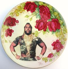 Altered Antique Plates from BeatUpCreations, starring Mr T. I want a shelf in my kitchen to collect these.